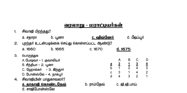 TNPSC GROUP IV HISTORY MODEL TEST 1 DOWNLOAD